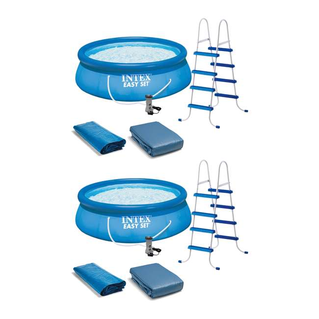 """26167EH Intex 15' x 48"""" Inflatable Above Ground Swimming Pool, Ladder And Pump (2 Pack)"""