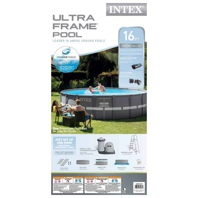 26321EH + 2 x 58868EP + 58821EP Intex 16' x 48-Inch Ultra Frame Swimming Pool Set with 1500 Gph Krystal Clear Pump (Pair) 6