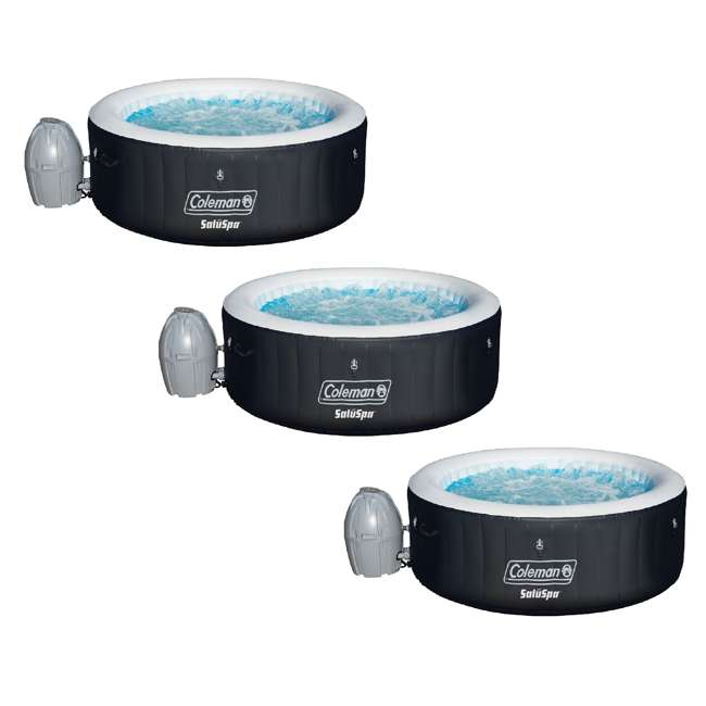 3 x 13804-BW Coleman SaluSpa Portable 4 Person Outdoor Inflatable Hot Tub w/ Pump (3 Pack)