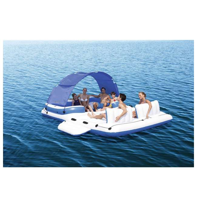 "43105E-BW-U-A Bestway 153""x108"" Tropical Breeze Large Floating Island Lounge(Open Box)(2 Pack) 1"