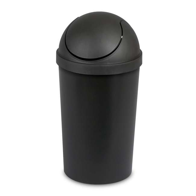 6 x 10839006 Sterilite 10839006 3 Gallon Round Swing Top Plastic Wastebasket, Black (6 Pack) 1