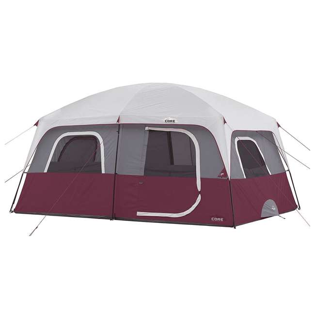 CORE-40067-U-A CORE Outdoor Straight Wall Family Camping 10-Person Cabin Tent, Red (Open Box)