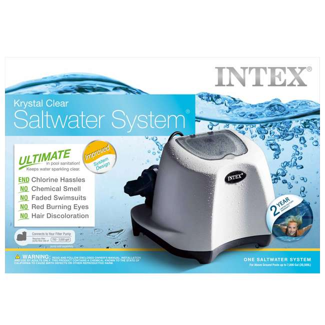 26667EG-U-A Intex Krystal Clear Saltwater System 7000G Above Ground Pool (Open Box) (2 Pack) 4