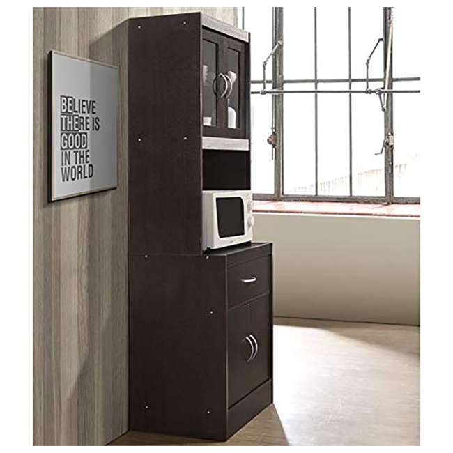 """HIKF96 CHOCO-GREY Hodedah Import 70"""" Tall Top/Bottom Enclosed Kitchen Cabinet w/ Drawer, Chocolate 3"""