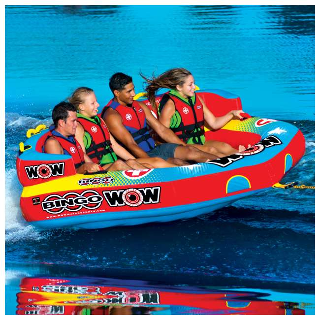 14-1080 Wow Bingo 2 Inflatable 2 Person Seating Ride Cockpit Towable Water Sports Tube  1