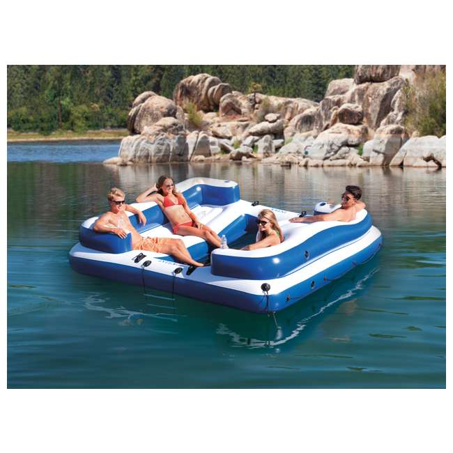 58293EP + 66639E Island Inflatable Giant 5 Person Lake Lounge w/ AC Electric Air Pump 2