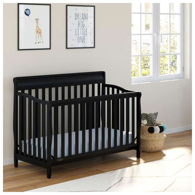 04530-66B + 06711-300 Graco Stanton 4-in-1 Convertible Crib in Black w/ Foam Mattress 8