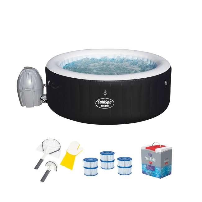 54124E-BW + 3 x 90352E-BW + 58421-BW + 45520A Bestway SaluSpa Spa Hot Tub, Filter, Tool & Sanitizer Kit