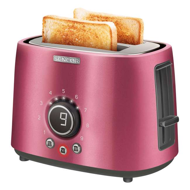STS6054RD-NAA1 Sencor STS 6054RD Electric Wide 2 Slice High Lift Toaster w/ Rack, Metallic Red