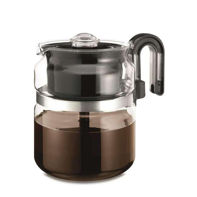 1-PK008-BL-4 Cafe Brew 1-PK008 Heavy Duty Borosilicate Glass Stovetop Percolator, Black