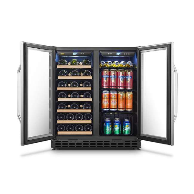 LW3370B Lanbo Lockable Large Built In 33 Bottle/70 Can Wine and Beverage Refrigerator 3