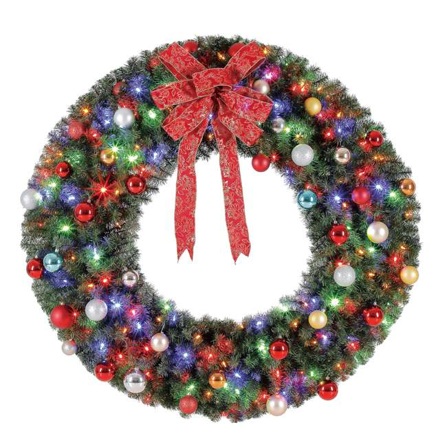 GD4000CYKD00 Home Heritage 48 Inch Holiday Christmas Wreath X976 Tips w/ 200 Color LED Lights 2