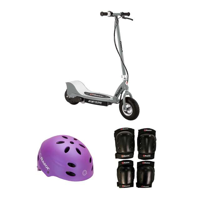 13116312 + 97961 + 96784 Razor Electric Kids Scooter, Silver + Youth Sport Helmet + Elbow & Knee Pads