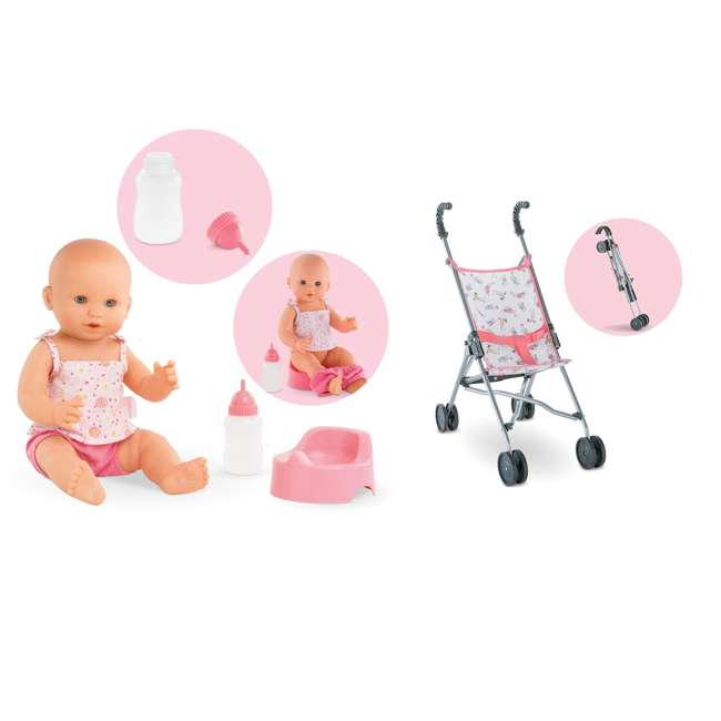 FPK23 + FRV17 Corolle Mon Grand Poupon Drink & Wet Potty Training Emma Doll and Toy Stroller