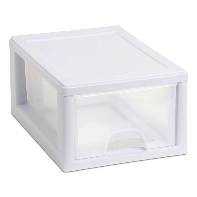 30 x 20518006-U-A Sterilite 20518006 Stackable Small Drawer White Frame (Open Box) (30 Pack)