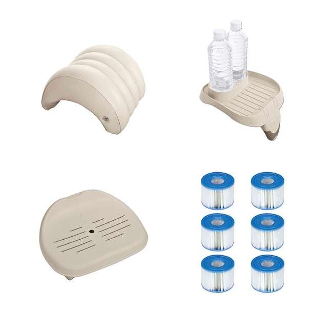 28501E + 28500E + 28502E + 3 x 29001E Intex PureSpa Headrest + Food Tray + Hot Tub Seat + 6 S1 Filters