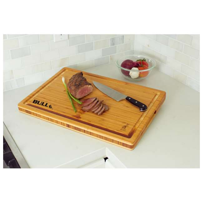 BOPA-52565 Bull Bamboo Wood Butcher Chopping Block Table Top 2