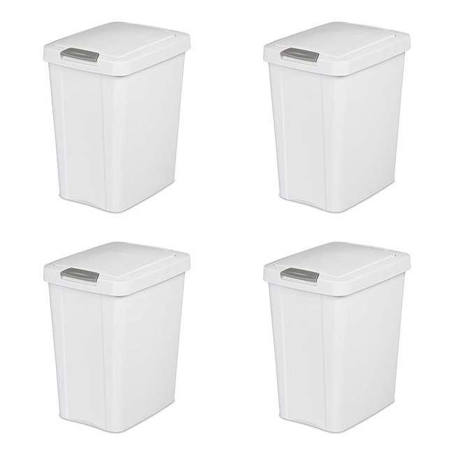 4 x 10438004 Sterilite 7.5 Gallon TouchTop Wastebasket with Titanium Latch, White (4 Pack)