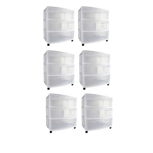 6 x 29308001 Sterilite 3-Drawer Wide Storage Container (6 Pack)