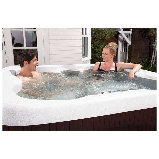 LS100-SS Life Smart 4 Person Plug & Play Square Hot Tub Spa with 20 Jets and Cover, Brown 4