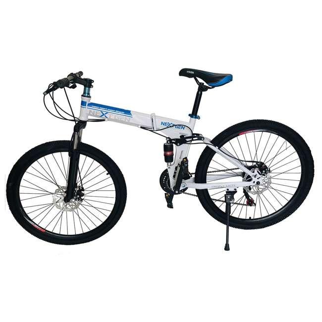 "MTB014-WH NextGen 26"" 21 Speed Shimano Foldable Hardtail Downhill Mountain Bike, White"