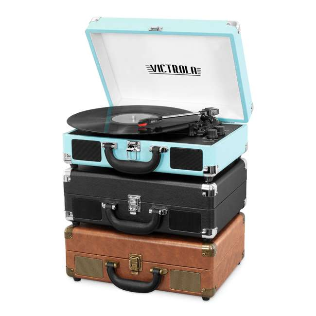 VSC-550BT-BRW Victrola 3-Speed Bluetooth Suitcase Record Player, Brown 3