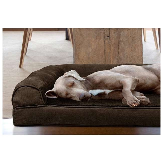 45636081 Furhaven 45636081 Jumbo Plus Faux Fur & Suede Orthopedic Sofa Pet Bed, Expresso 4