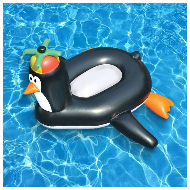 90630-U-B Swimline Swimming Pool Giant Rideable Happy Penguin Inflatable Float Toy (Used) 1