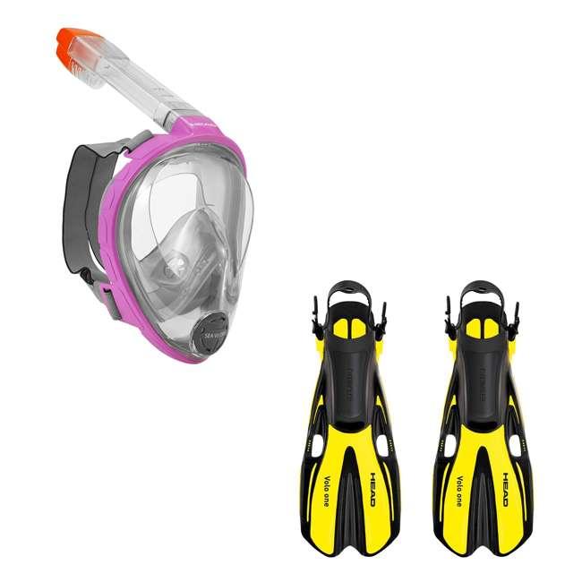 496325-PKGRS/M + 480203SFYLSM Head Sea VU Dry Full-Face Anti-Fog Adult S/M Snorkel Swim Mask & S/M Fins