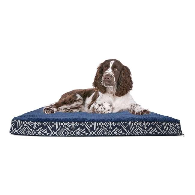 32438265 Furhaven Large Plush Top Kilim Deluxe Orthopedic Pet Dog Bed, Southwest Indigo 1