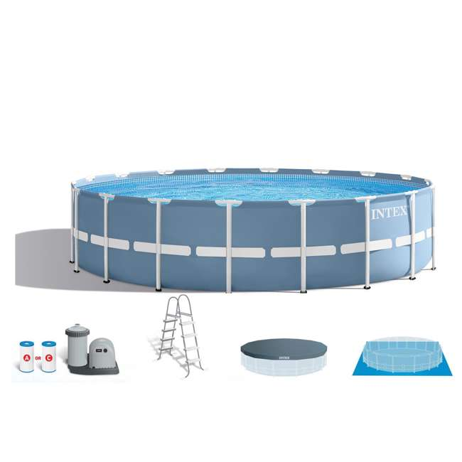 Intex 18 feet x 48 inches prism frame swimming pool set 26751eh for Intex swimming pools clearance