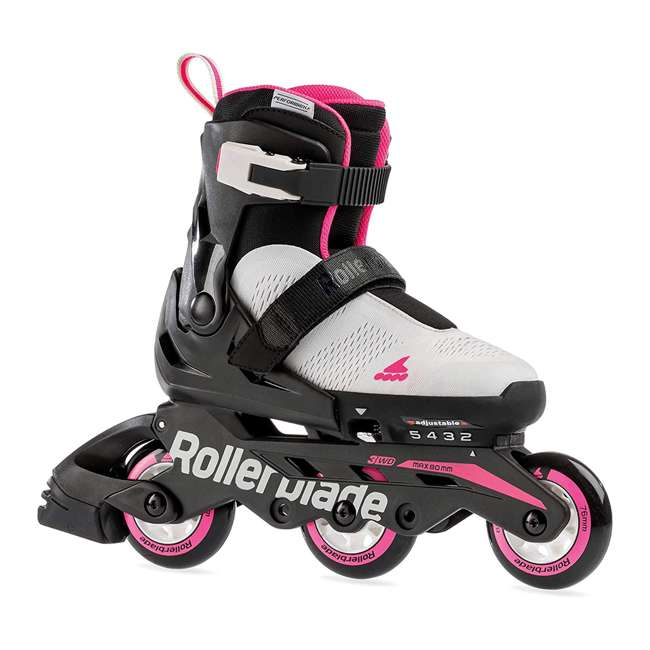 07065600500-5-8 Rollerblade Microblade 3WD Inline Adjustable Roller Skates for Kids, Gray & Pink