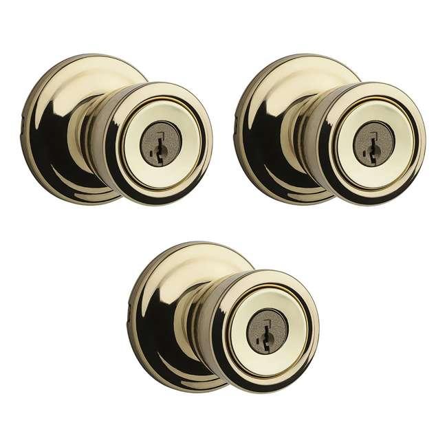 3 x 97402-798 Kwikset Abbey Keyed Lock Handle Door Knob , Polished Brass (3 Pack)