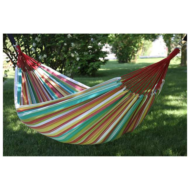 BRAZ126 Vivere Brazilian Style Cotton One Person Outdoor Backyard Patio Hammock, Salsa 3