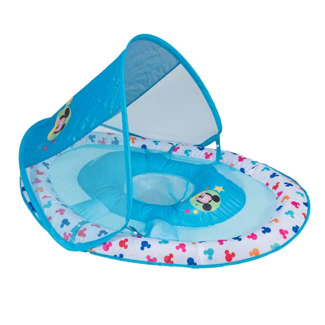 25440-SW-U-A SwimWays Inflatable Infant Baby Pool Float w/ Canopy, Mickey Mouse (Open Box)