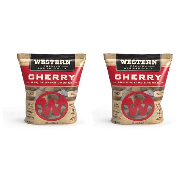 28081 Western BBQ Smoking Barbecue Pellet Wood Cooking Chip Chunks, Cherry (2-Pack)