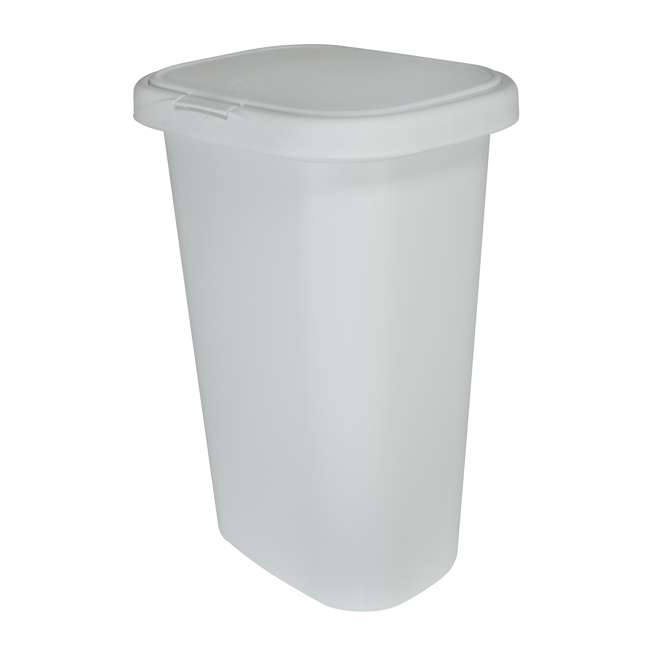 FG5L5806WHT Rubbermaid 13 Gallon Rectangular Spring-Top Lid Wastebasket Trash Can, White