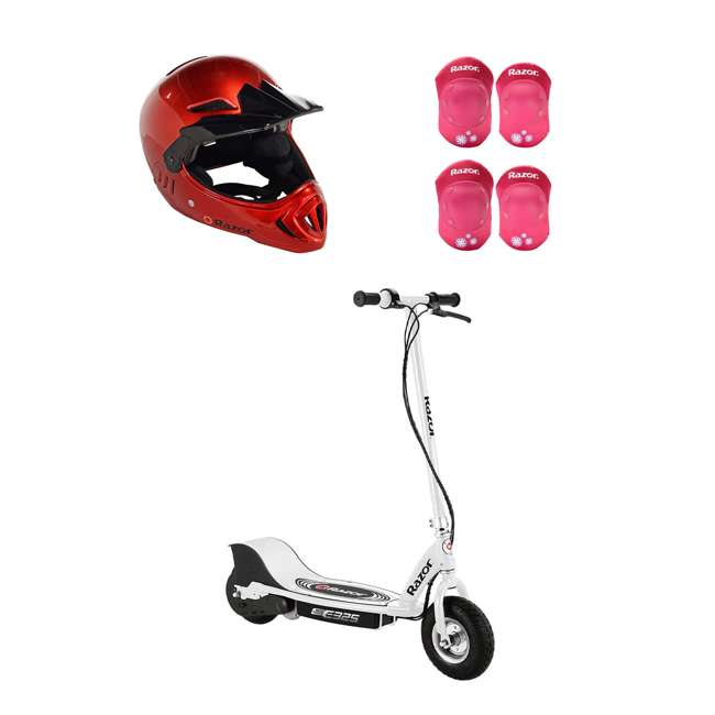 13116310 + 97880 + 96783 Razor E325 Electric Rechargeable Scooter + Bicycle Helmet + Elbow & Knee Pad Set