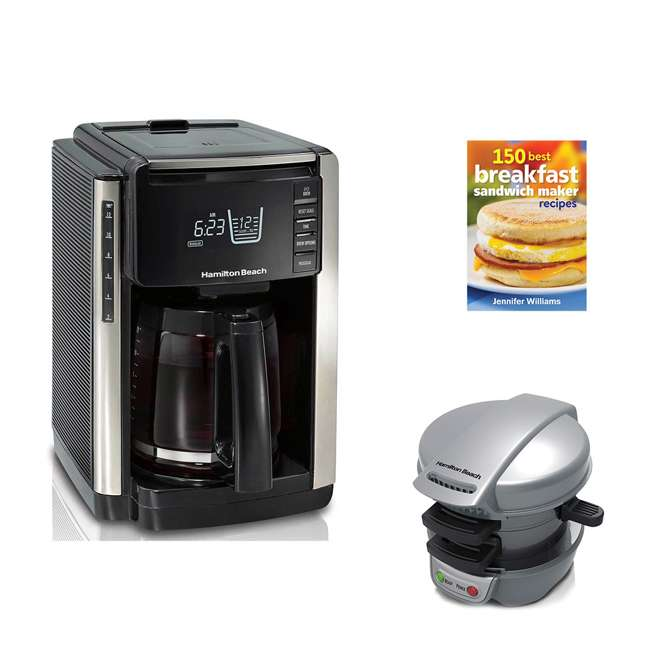45300 + 25475 + BKFSTMKR100 Hamilton Coffee Maker w/ Breakfast Sandwich Maker & Recipes Book