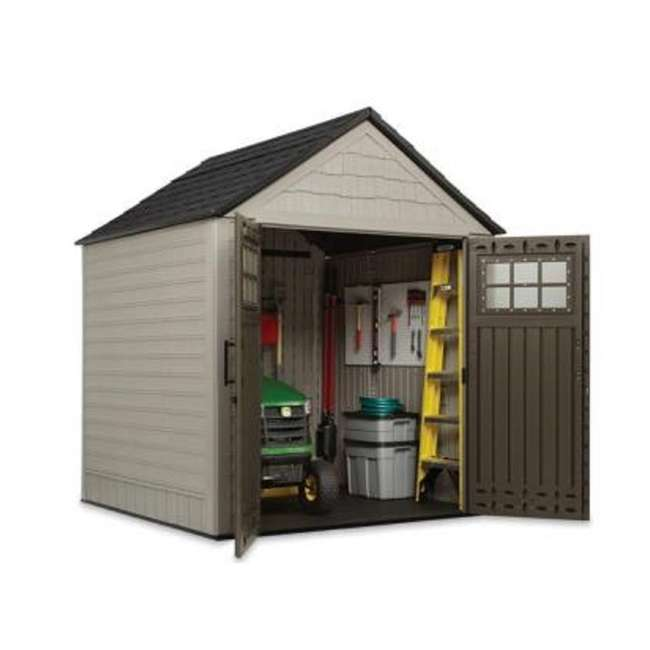 2035896 + 2024654 + 2024656 + 2024651 Rubbermaid 7' x 7' Big Max Storage Shed with Utility & Handle Hook & Accessories 2