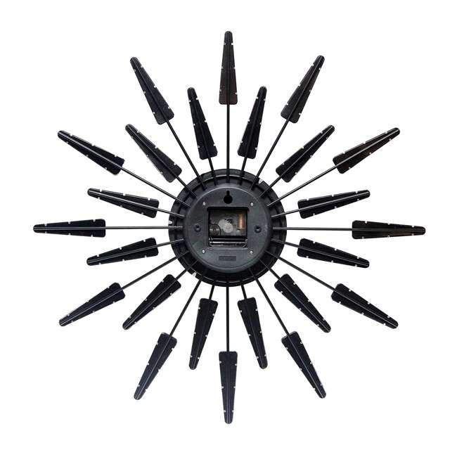 15196WL-4127 Infinity Instruments Sunburst Mid-Century Metal Satellite Wall Clock, Walnut 1