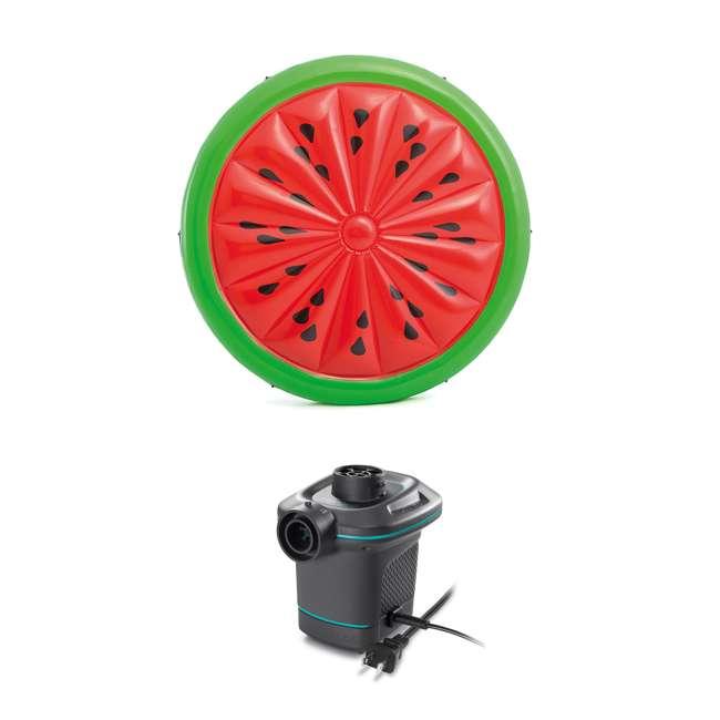 56283EP + 66639E Intex  72-Inch Watermelon Island Raft | Intex 120V Quick Fill AC Air Pump