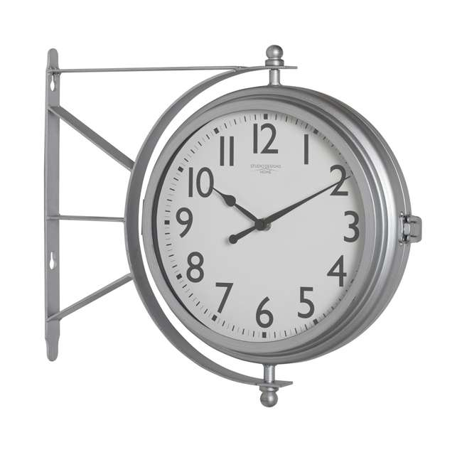73013 Studio Designs Metro Station 18 Inch Dual Face Clock and Thermometer, Silver