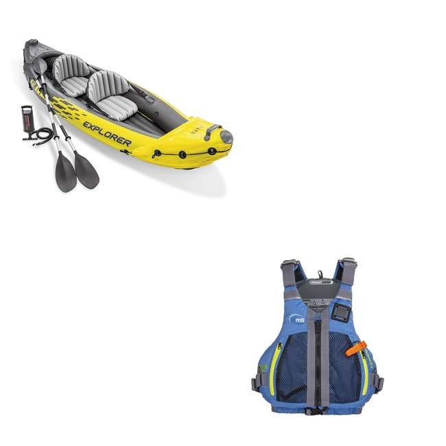 68307EP + 2 x MTI-716D-0BB34 Intex Explorer 2 Person Inflatable Kayak w/ MTI Adult L/XL Water Vest (2 Pack)