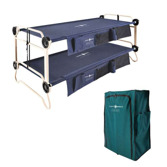 30602BO + 19813/GRN Disc-O-Bed XL Cam-O-Bunk Double Cot + 3 Shelf 6 Compartment Cabinet