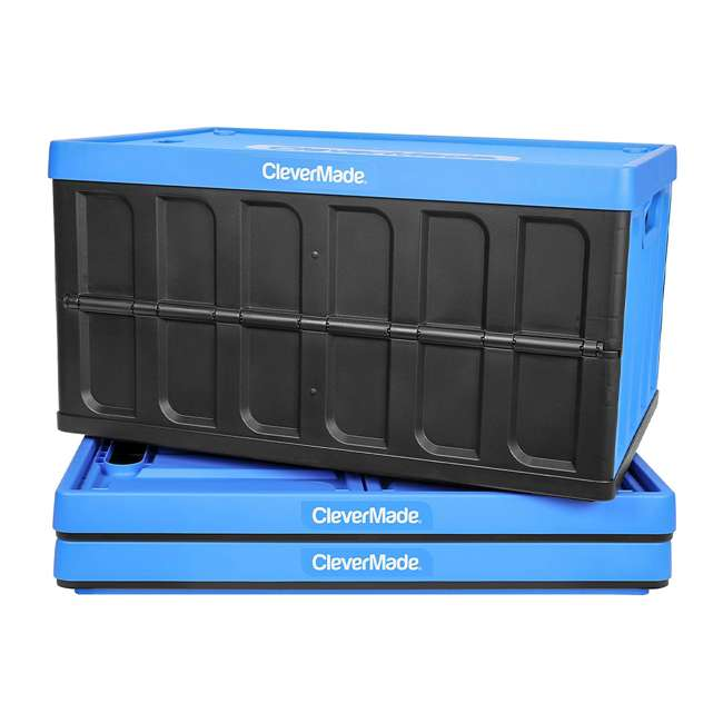 8034119-21843PK CleverMade Durable Stackable 62L Collapsible Storage Bins, Neptune Blue (3-Pack) 1