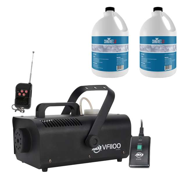 VF1100 + 2 x FJU ADJ 1 Liter Portable Smoke Fog Machine w/ 1 Gallon Bottle of Fog Fluid (2 Pack)