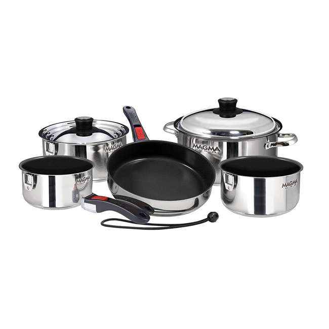 A10-366-2-IND Magma 10 Piece Scratch Resistant Stainless Steel Non Stick Nesting Cookware Set