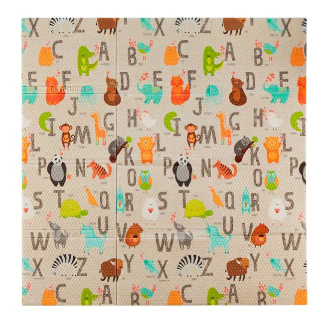 NS-8910 North States 8910 Superyard Animal Print Folding ABC Baby Toddler Play Mat, Tan 1