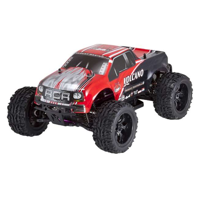 4 x VOLCANOEP-94111-RedBlack-24 Redcat Racing Volcano EPX 1:10 Scale RC Monster Truck, Red (4 Pack)
